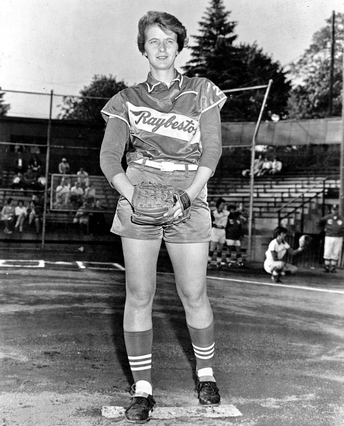 Joan Joyce as a young pitcher for the Raybestos Brakettes.