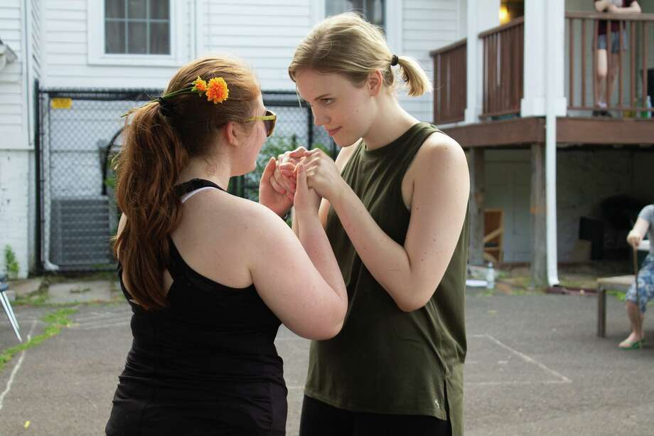 Jill Phillips, left, and Genevieve Wisdom rehearse a scene. Photo: Molly Flanagan / Contributed Photo