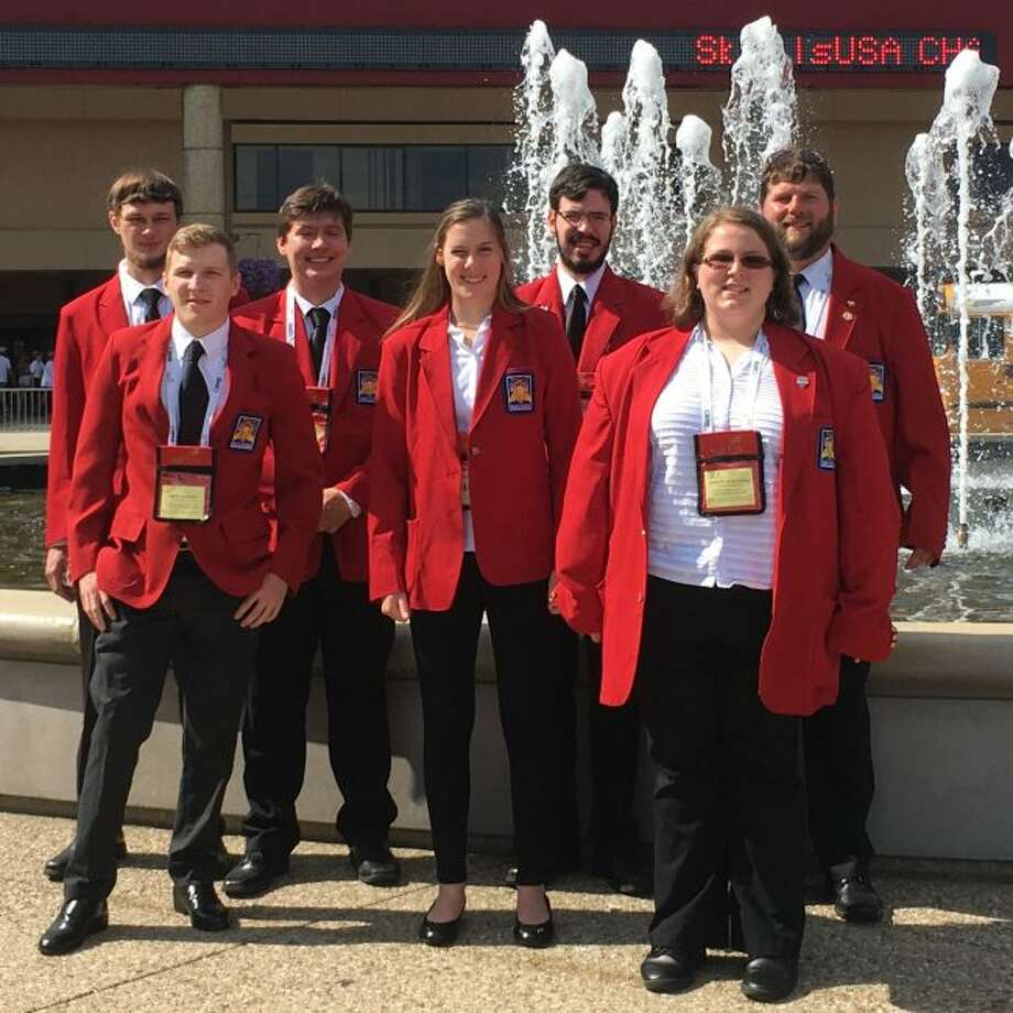 Ferris State University's SkillsUSA team recently competed in the National Leadership and Skills Conference. Pictured are (from left, front) Brett Bouwens, of Cedar Springs; Haven Robinson, of Kingsley; Jeanette Woolridge, of Pontiac; (back) William Cebelak, of Grand Rapids; Ryan O'Grady, of Rockford; Ben Tabbert, of Interlochen; and CAD, Drafting and Tool Design Technology Professor Dan Wanink. (Courtesy photo)