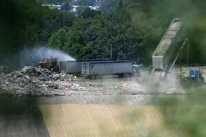 Waste is dumped at the S.A. Dunn Landfill on Friday, July 26, 2019, in Rensselaer, N.Y. (Will Waldron/Times Union)