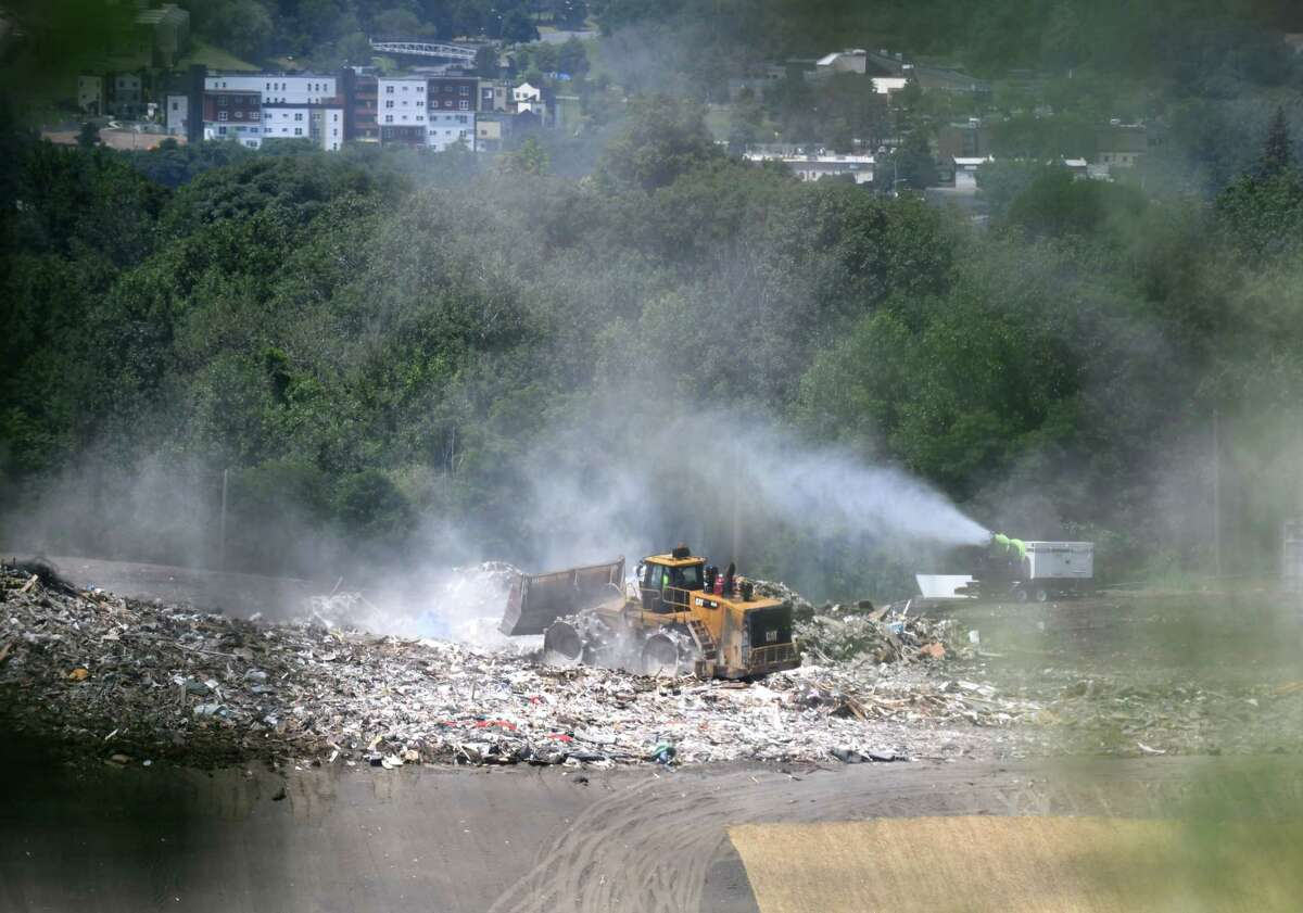Waste is processed at the S.A. Dunn Landfill on Friday, July 26, 2019, in Rensselaer, N.Y. (Will Waldron/Times Union)