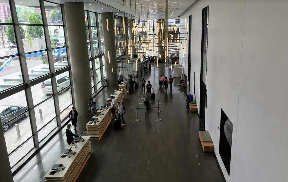 A big bright lobby at Seattle's new Hyatt Regency Seattle  Photo: Chris McGinnis