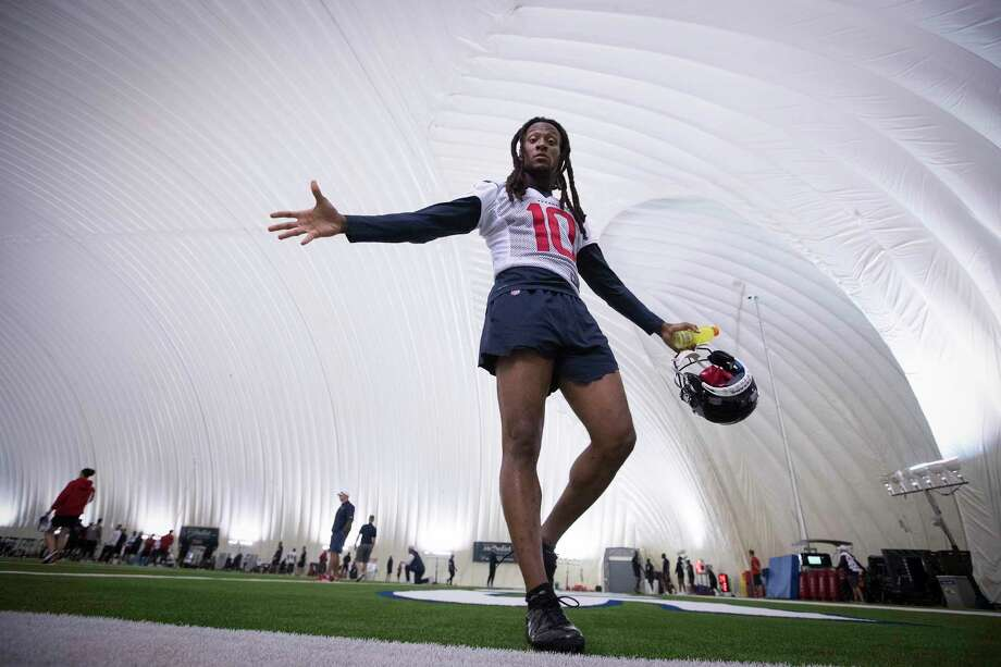 Houston Texans wide receiver DeAndre Hopkins walks off the field under the training bubble during training camp at the Methodist Training Center on Friday, July 26, 2019, in Houston. Photo: Brett Coomer, Staff Photographer / © 2019 Houston Chronicle