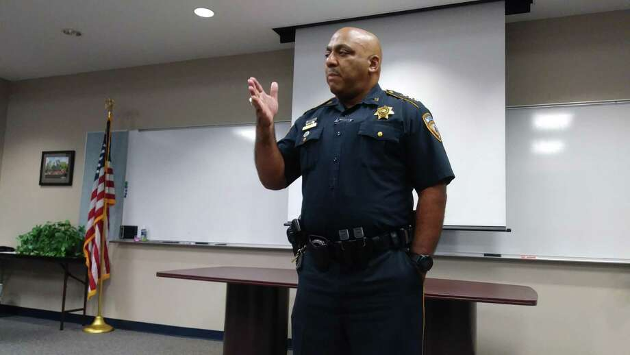 Chief Darryl Coleman, commander of the criminal justice command for Harris County Sheriff's Office, spoke about his position to a group of community members on July 25. Photo: Chevall Pryce
