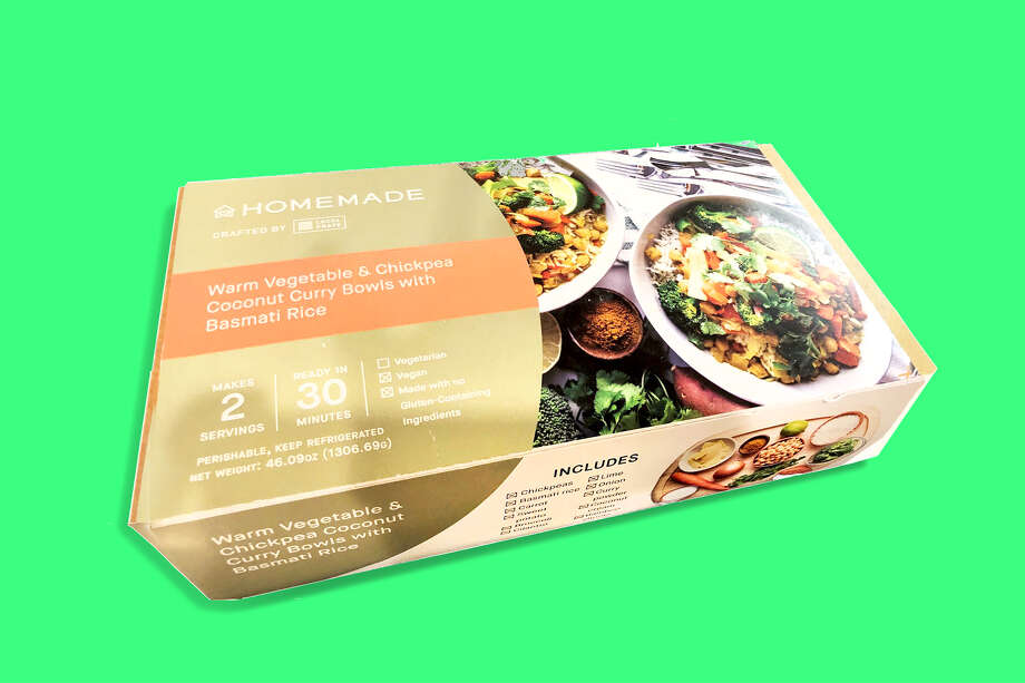 The meal kits can be found in a refrigerated case at two Bay Area Whole Foods stores. This one cost $18. Photo: Alix Martichoux
