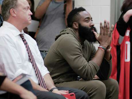Houston Rockets guard James Harden listens to questions posed to Russell Westbrook during a press conference introducing him  at the Toyota Center on Friday, July 26, 2019 in Houston.