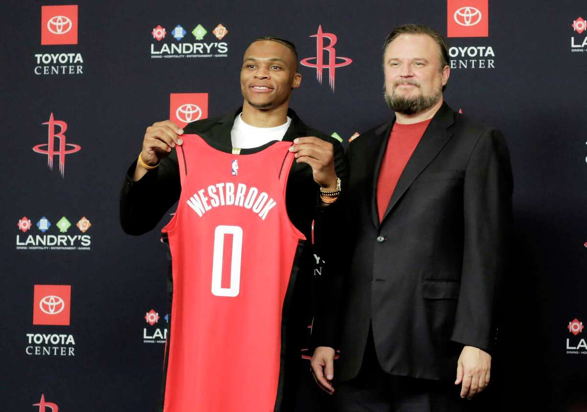 PHOTOS: More from Russell Westbrook's introductory press conference with the Rockets Russell Westbrook poses with his jersey with Rockets General Manager Daryl Morey during a press conference introducing him at the Toyota Center on Friday, July 26, 2019 in Houston.