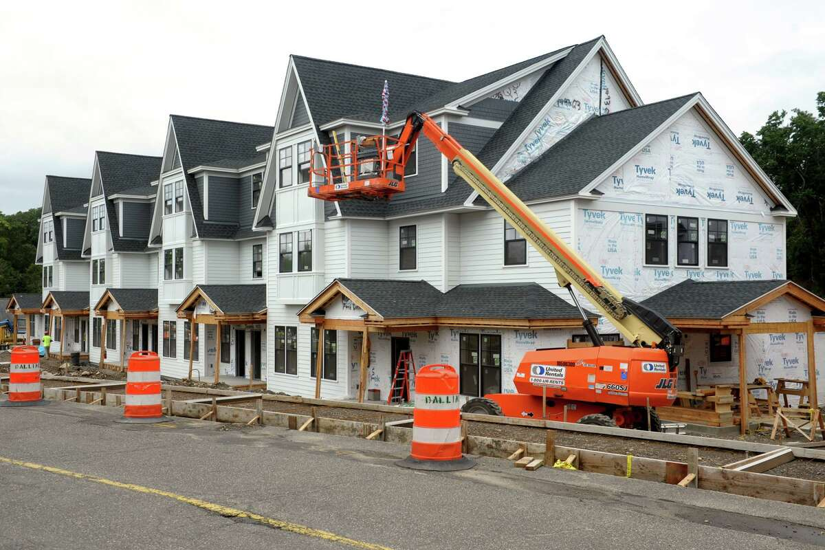 New residential town houses under construction on the campus of Fairfield University, in Fairfield, Conn. July 21, 2019