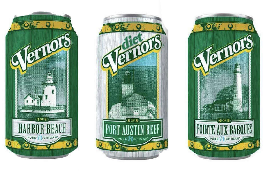 Area lighthouses in Harbor Beach, Port Austin Reef and Pointe aux Barques will be featured on cans of Vernors through September. (Courtesy Photo) Photo: Courtesy Photo