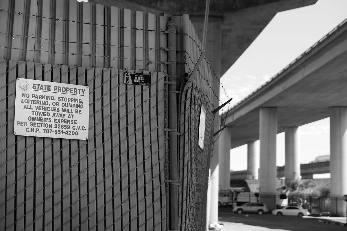 The city is selecting new 200-bed Navigation Center behind this fence on this Caltrans property underneath the 280 freeway on Friday, July 26, 2019 in San Francisco, Calif.