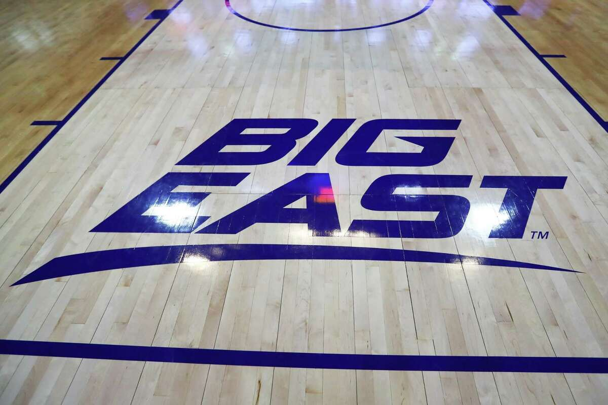 NEW YORK, NY - MARCH 16: A General View of the Big East Logo on the court prior to the Big East Conference Championship college basketball game between the Villanova Wildcats and the Seton Hall Pirates on March 16, 2019 at Madison Square Garden in New York, NY. (Photo by Rich Graessle/Icon Sportswire via Getty Images)