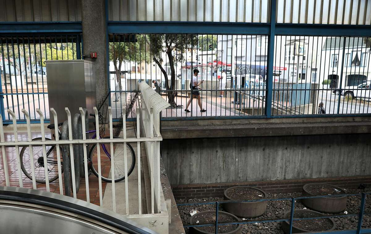 View looking out from the escalators at the Glen Park BART station which is nominated for the National Register of Historic Places on Thursday, July 25, 2019 in San Francisco, Calif.
