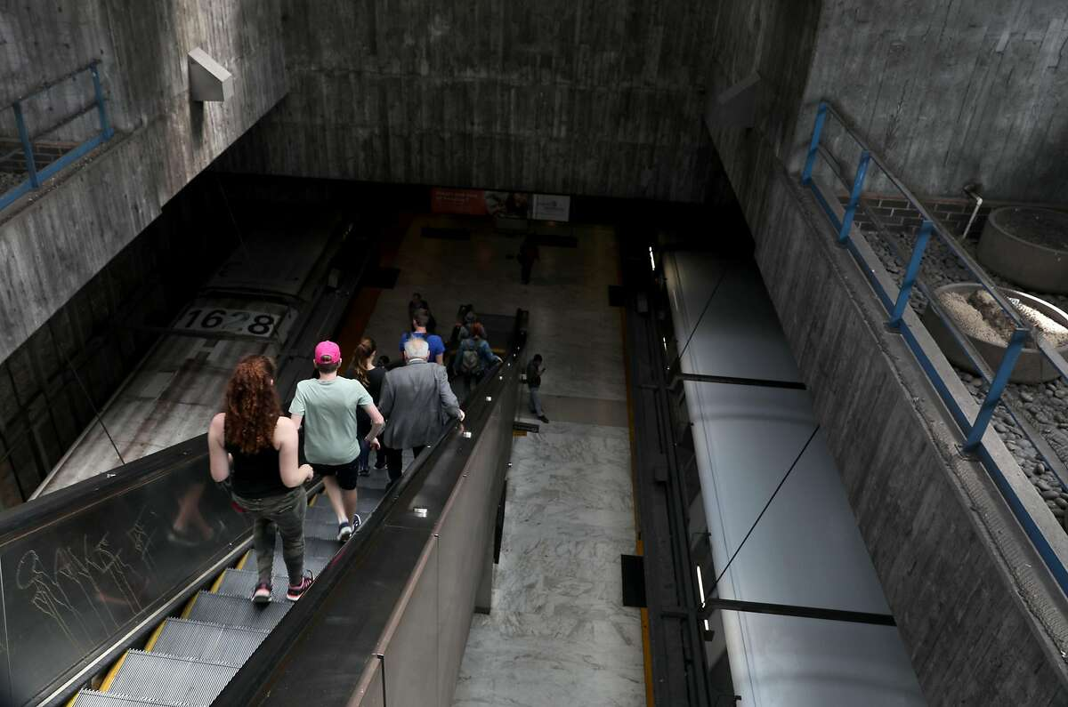 View looking down from the escalators at the Glen Park BART station which is nominated for the National Register of Historic Places on Thursday, July 25, 2019 in San Francisco, Calif.