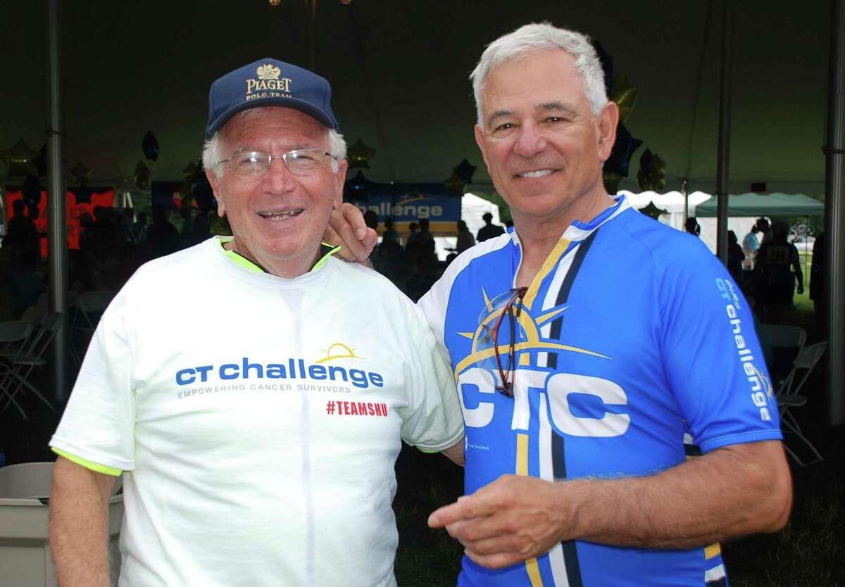 Don Cook and Bobby Valentine pose at the Fairfield County Hunt Club in Westport, Conn .after riding inthe CT Challenge cancer benefit bike ride on Saturday, June 26, 2014.