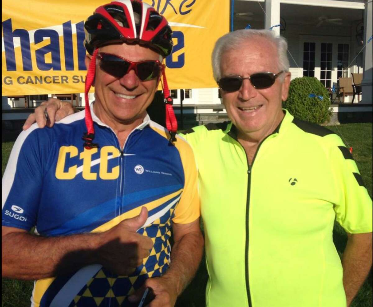 Former Fairfield and Sacred Heart athletic director Don Cook (R) at the CT Challenge bike ride wth current Sacred Heart AD Bobby Valentine. Cook's team raises money for a scholarship named in honor of his late son Christopher.