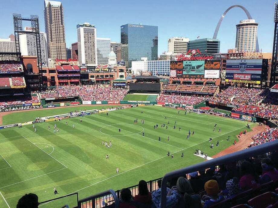 The U.S. men's National soccer Team will lay Uruguay in a friendly match Sept. 10 at Busch Stadium in St. Louis. It will be the seventh soccer match held at the stadium, which opened in 2004. Above, a record crowd of more than 35,000 watches the U.S. Women's National Soccer Team play a friendly match against New Zealand in 2015 at Busch Stadium. Photo: Pete Hayes File | The Telegraph
