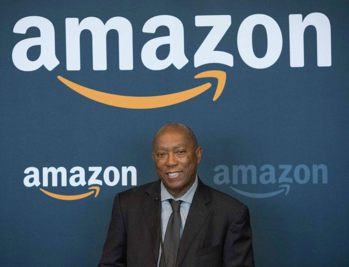 Houston Mayor Sylvester Turner delivers his speech to welcome the Amazon Web Services during a press conference on Friday, July 26, 2019, in Houston.
