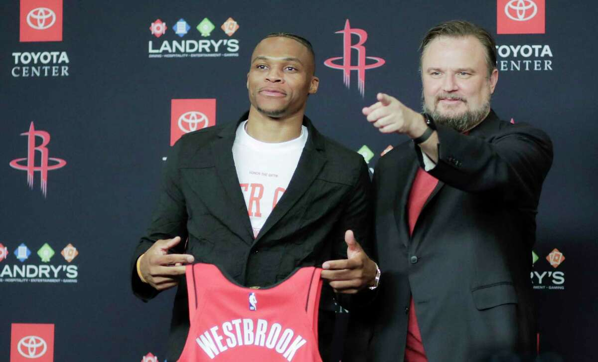 Rockets general manager Daryl Morey, at the introduction of Russell Westbrook, still thinks his team should be the favorites in the West.