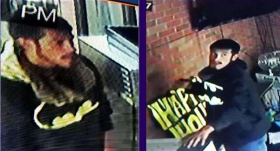 Laredo police are searching for a man suspected of burglary. He was wearing a Batman sweatshirt at the time. Photo: Courtesy