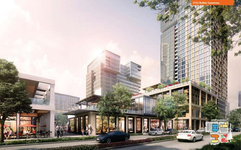 A rendering filed with the city of Houston by the developer of a mixed-use development planned at the corner of West Alabama and Buffalo Speedway. Photo: City Of Houston
