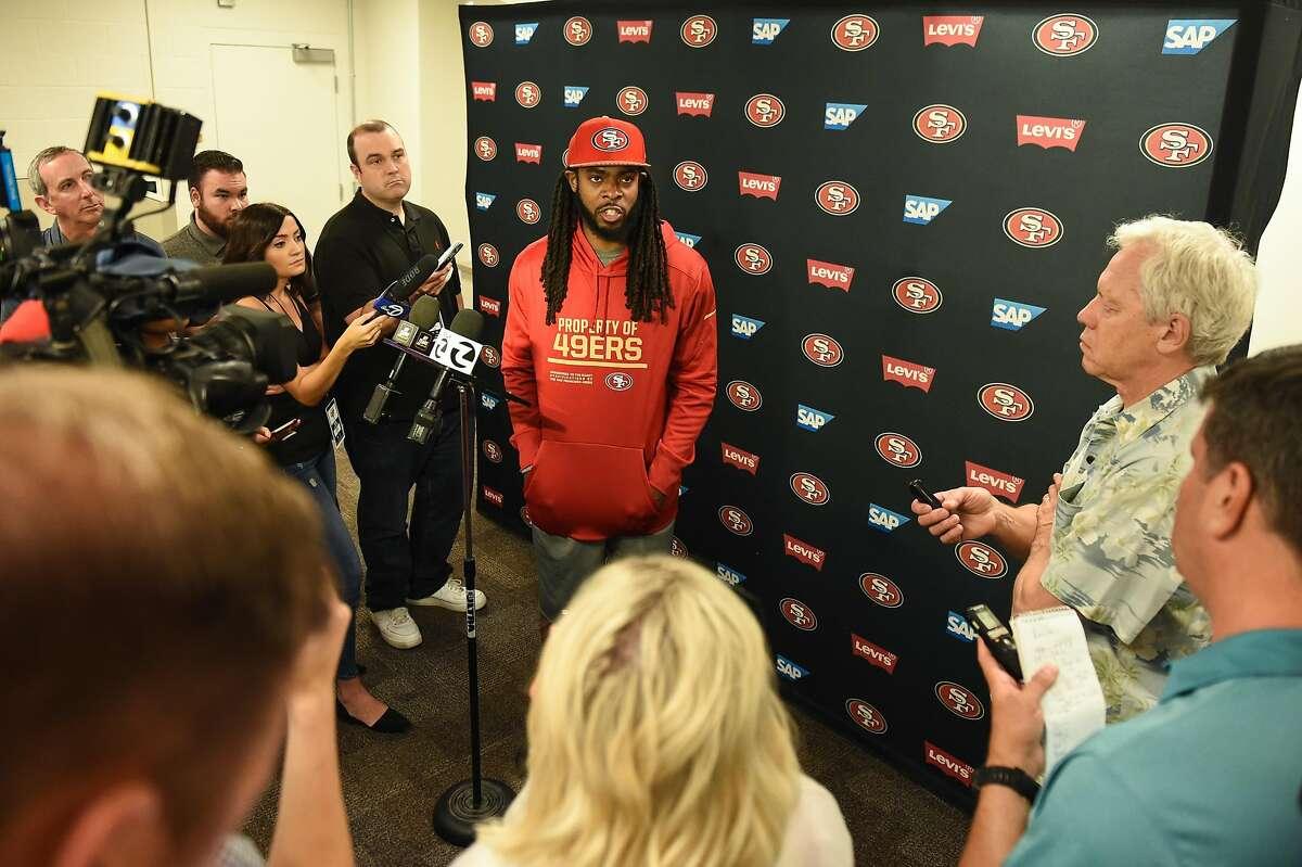 San Francisco 49ers cornerback Richard Sherman during a press conference at Levi's Stadium on July 26, 2019 in Santa Clara, CA.