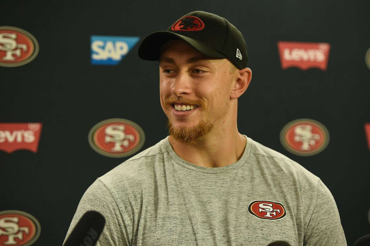 San Francisco 49ers tight end George Kittle during a press conference at Levi's Stadium on July 26, 2019 in Santa Clara, CA.