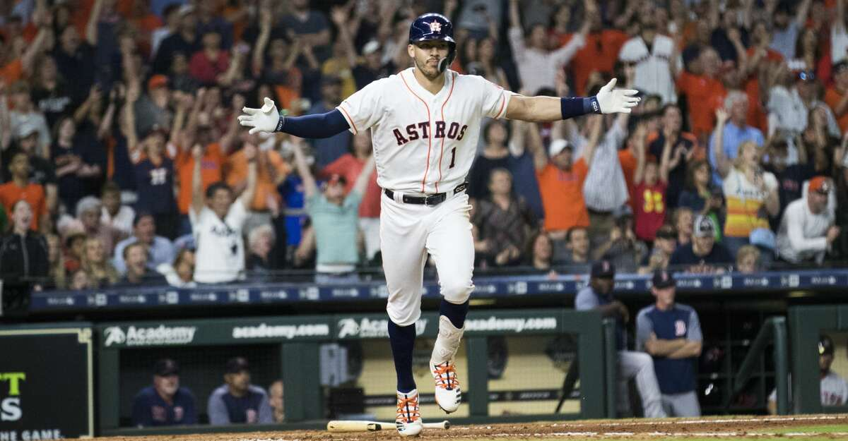PHOTOS: Astros game-by-game Houston Astros' Carlos Correa (1) celebrates after hitting the game-winning single against the Boston Red Sox during the ninth inning of a baseball game Saturday, May 25, 2019, in Houston. The Astros won 4-3. Browse through the photos to see how the Astros have fared in each game this season.