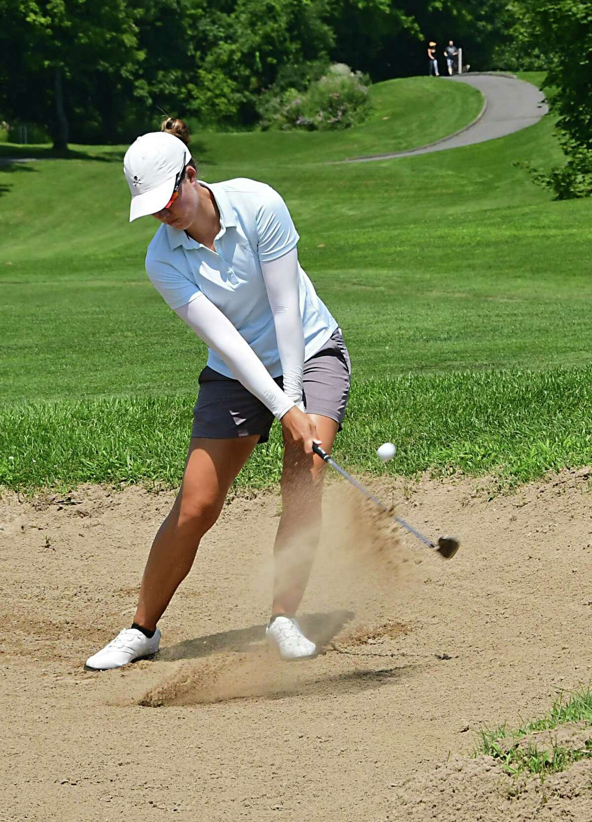 Vicky Hurst of Melbourne, FL hits her ball out of the bunker during the first round of the CDPHP Open, a 54-hole Symetra Tour at Capital Hills Golf Course on Friday, July 26, 2019 in Albany, N.Y. (Lori Van Buren/Times Union)