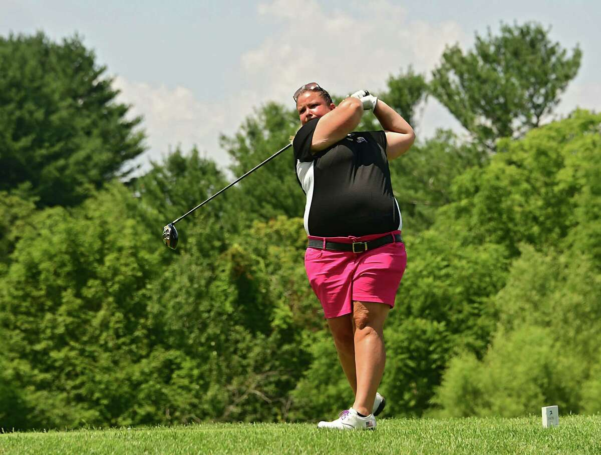 UAlbany women's golf coach Colleen Cashman-McSween drives off the third tee during the first round of the CDPHP Open, a 54-hole Symetra Tour at Capital Hills Golf Course on Friday, July 26, 2019 in Albany, N.Y. (Lori Van Buren/Times Union)