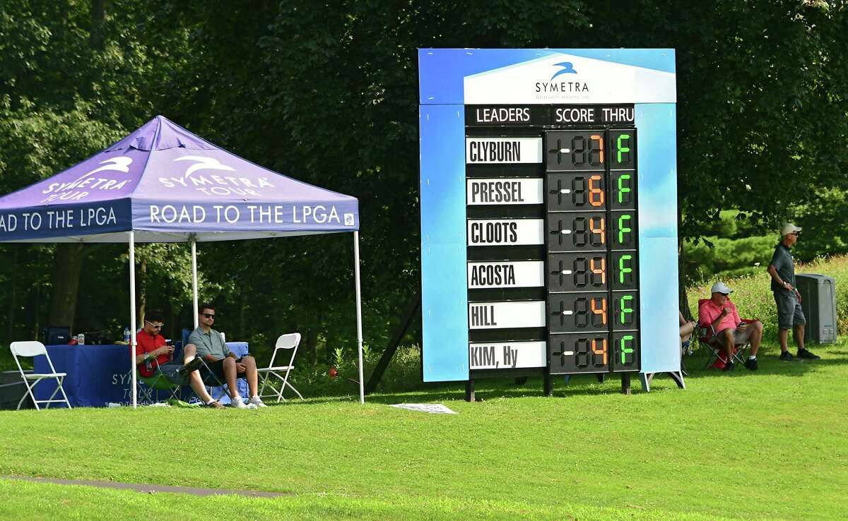 The leader board is seen above the 18th hole during the first round of the CDPHP Open, a 54-hole Symetra Tour at Capital Hills Golf Course on Friday, July 26, 2019 in Albany, N.Y. (Lori Van Buren/Times Union)