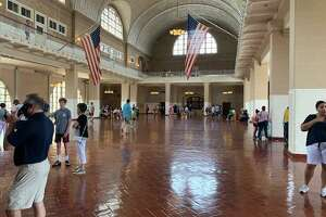 The Registry room where newly arrived immigrants were processed on Ellis Island. More than 12 million people came through this room when the federal government center was open from 1892 to 1954.