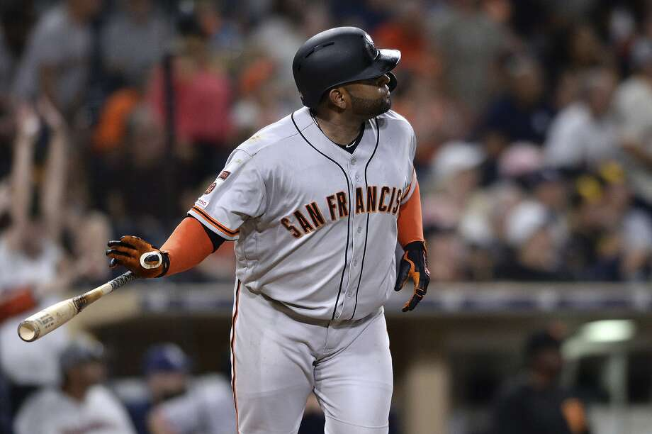 San Francisco Giants' Pablo Sandoval watches his home run during the eleventh inning of a baseball game against the San Diego Padres Friday, July 26, 2019, in San Diego. (AP Photo/Orlando Ramirez) Photo: Orlando Ramirez / Associated Press