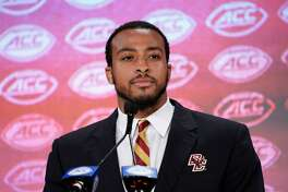 Boston College's AJ Dillon speaks during the ACC media day in Charlotte, N.C., on July 17.