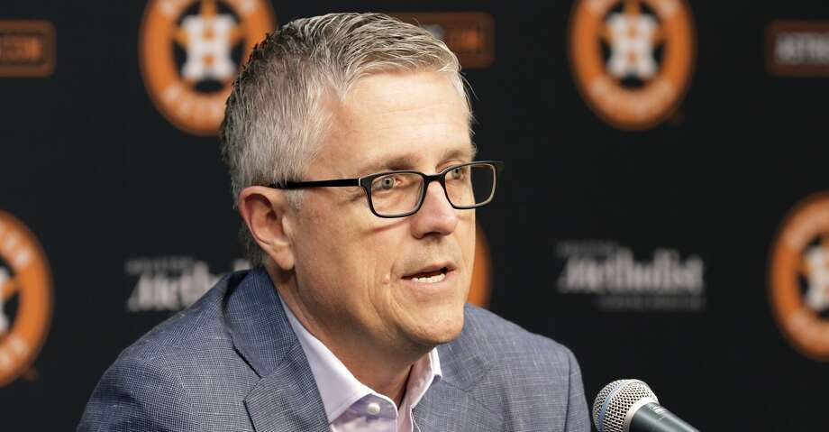 PHOTOS: World Series Game 1  Houston Astros President of Baseball Operations and General Manager Jeff Luhnow speaks during a press conference with Manager A.J. Hinch at Minute Maid Park Monday, Oct. 22, 2018 in Houston, TX. >>>See more photos from Game 1 of the 2019 World Series between the Astros and the Nationals on Tuesday ...  Photo: Michael Wyke/Contributor