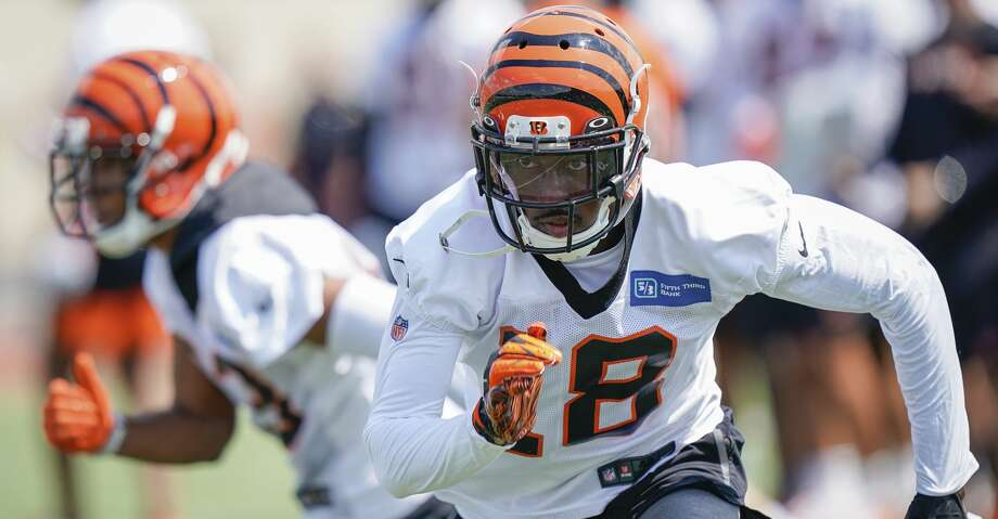 Cincinnati Bengal wide receiver A.J. Green (18) runs a play during the first day of NFL football training camp Saturday, July 27, 2019, in Dayton, Ohio. (AP Photo/Bryan Woolston) Photo: Bryan Woolston/Associated Press