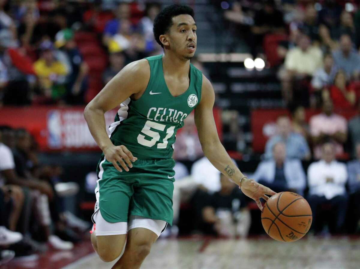 Boston Celtics' Tremont Waters plays against the Memphis Grizzlies in an NBA summer league basketball game Thursday, July 11, 2019, in Las Vegas.