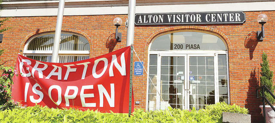 The Alton Visitor Center has always been a big promoter of regional tourism. The first week of July, the center erected a temporary sign letting people know the Great River Road was again open between Alton and Grafton.
