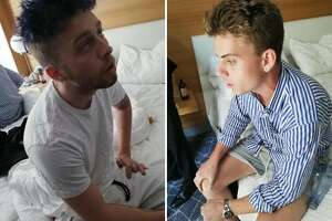In this combo photo released by Italian Carabinieri, Gabriel Christian Natale Hjorth, right, and Finnegan Lee Elder, sit in their hotel room in Rome. Two American teenagers were jailed in Rome on Saturday as authorities carry out a murder investigation in the killing of Italian police officer Mario Cerciello Rega, 35. A detention order issued by prosecutors was shown on Italian state broadcaster RAI, naming the suspects as Gabriel Christian Natale Hjorth and Finnegan Lee Elder. (Italian Carabinieri via AP)