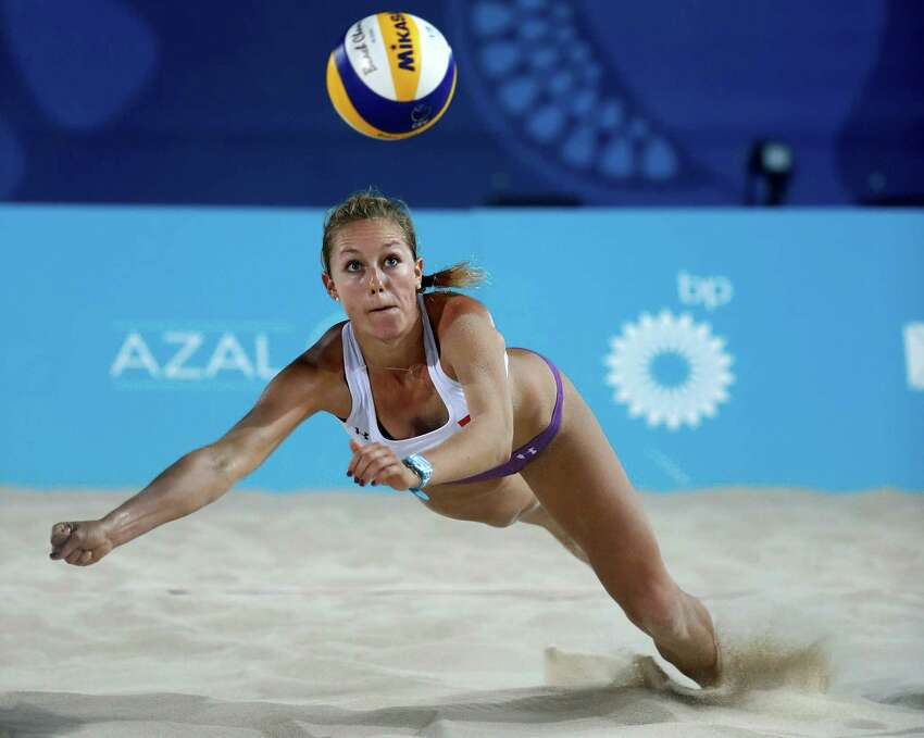 ITAPEMA, BRAZIL - MAY 16: Tanja Huberli of Switzerland in action during the match against Ana Patricia Silva Ramos and Rebecca Cavalcanti Barbosa of Brazil during the FIVB World Tour 2019 on May 16, 2019 in Itapema, Brazil. (Photo by Buda Mendes/Getty Images)