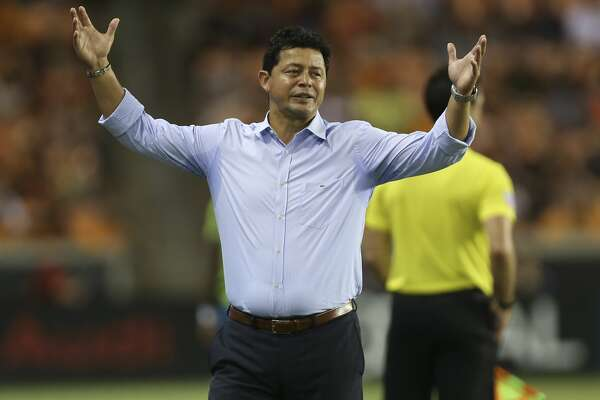 Houston Dynamo head coach Wilmer Cabrera shows disappoointment in the referees' officiating during the second half of the MLS game against the Seattle Sounders at BBVA Stadium on Saturday, July 27, 2019, in Houston. The Houston Dynamo lost to the against the Seattle Sounders 1-0.