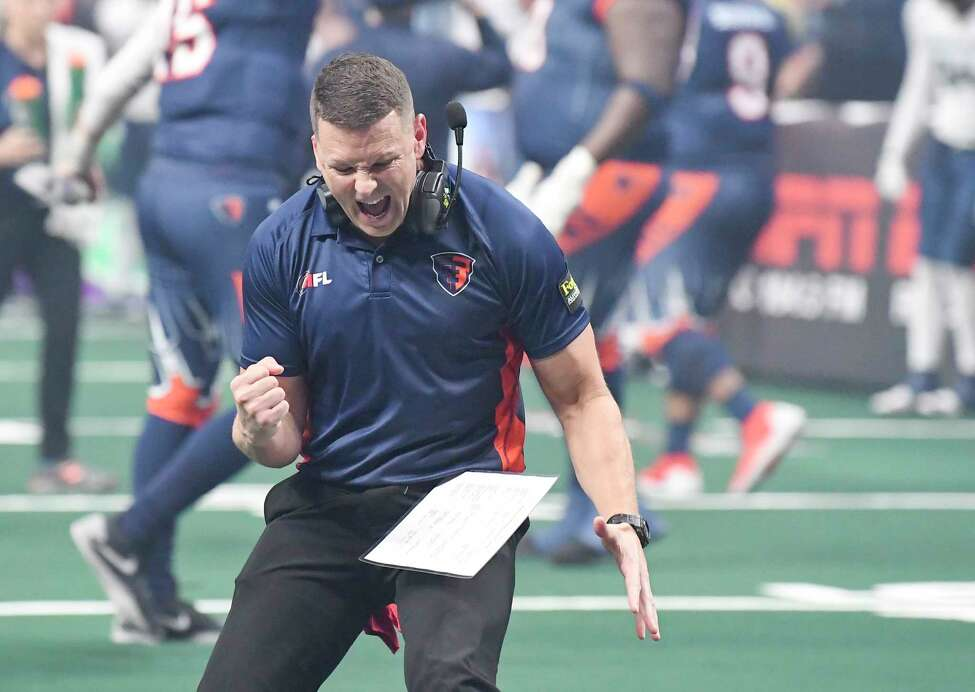 Albany Empire head coach Rob Keefe reacts after a instant replay is reviewed and the Albany Empire scored on a interception against the Baltimore Brigade's during a arena football league playoff game Saturday, June 27, 2019, in Albany, N.Y. (Hans Pennink / Special to the Times Union)