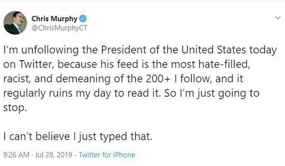 U.S. Sen. Chris Murphy, D-Conn., unfollowed President Donald Trump on Twitter on Sunday, July 28, 2019. Photo: Contributed Photo/Screenshot From Twitter / Contributed / The News-Times Contributed