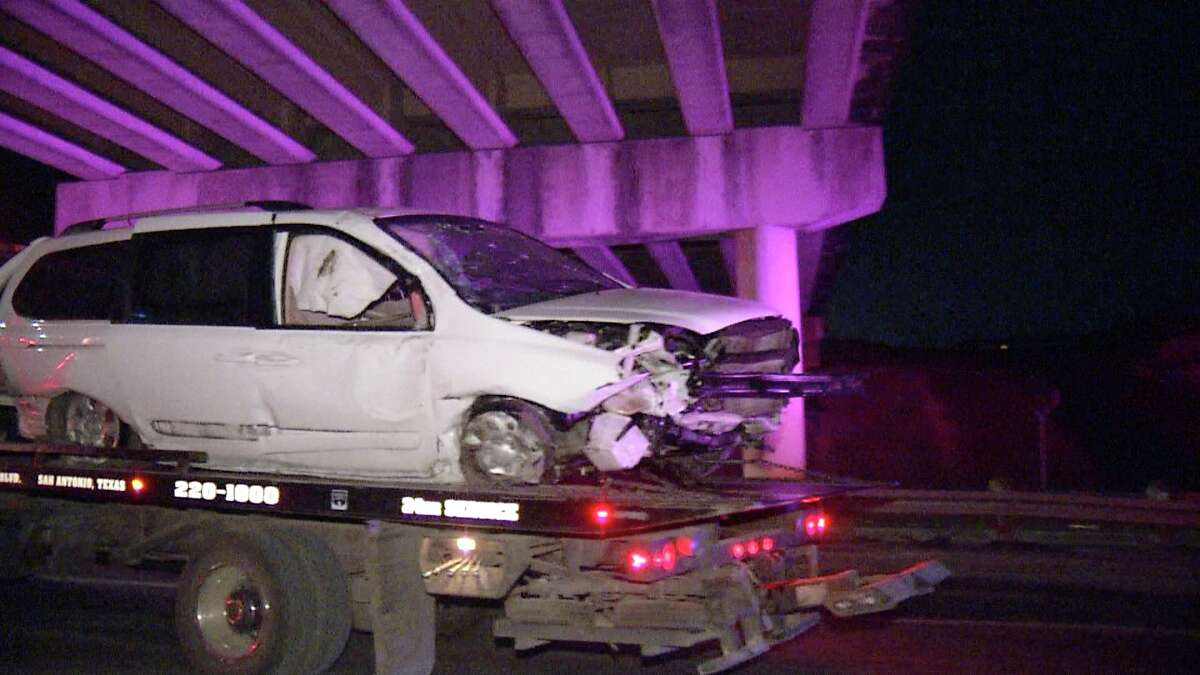 A woman was transported to a San Antonio hospital after driving off a bridge on Interstate 10 early Sunday, July 28, 2019.