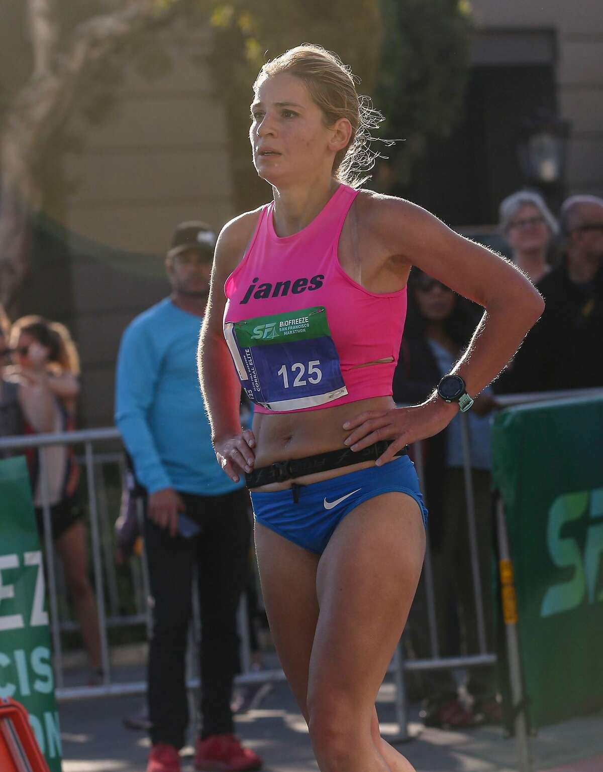 Women?•s Marathon Winner Nina Zarina cross the finish line of the San Francisco Marathon, one of the largest urban running events in the country, Sunday, July 28, 2019, in San Francisco, Calif.
