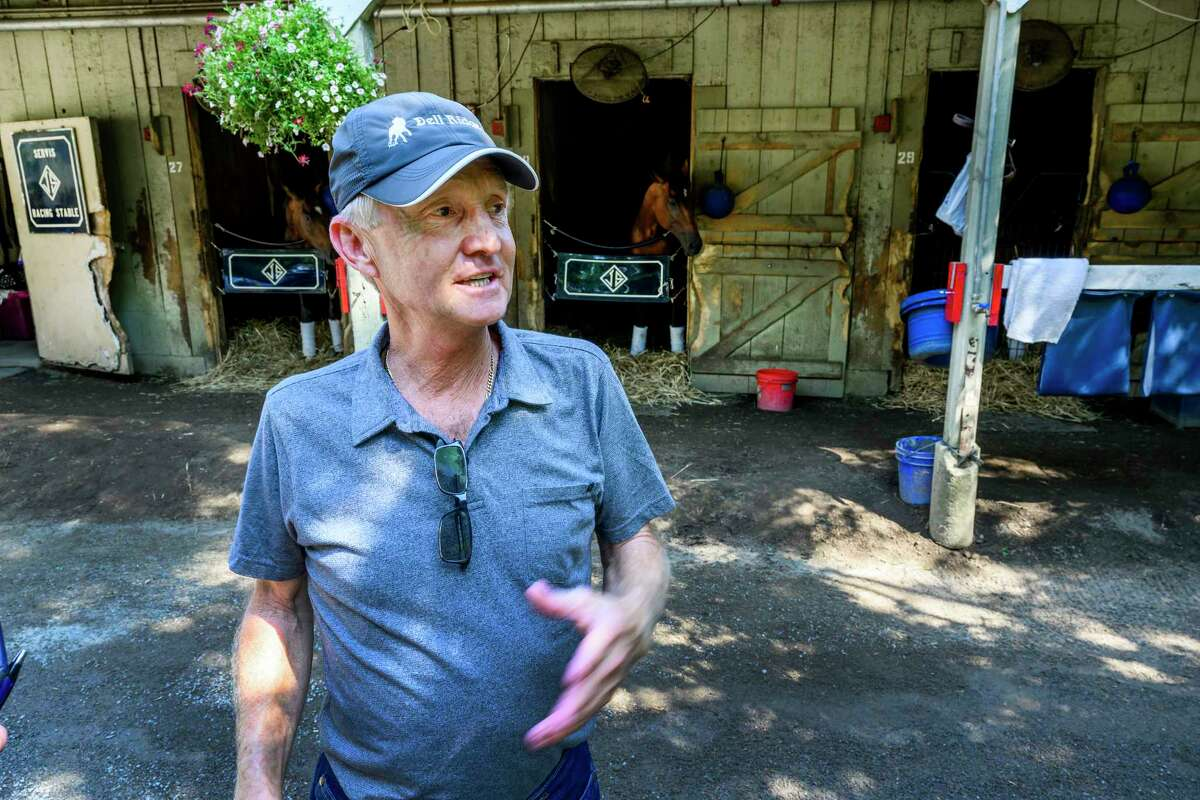 Trainer Jason Servis speaks to the Times Union Sunday July 28 2019 in his stable area on the Oklahoma Training Center adjacent to the Saratoga Race Course in Saratoga Springs, N.Y. Photo Special to the Times Union by Skip Dickstein