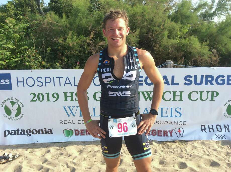 Michael Chronert, a Riverside resident and 2012 Brunswick School graduate, was the overall winner of the 2019 Hospital for Special Surgery Greenwich Cup Triathlon on Sunday, July 28, 2019, in Old Greenwich. The Triathlon began and ended at Greenwich Point. Photo: David Fierro /Hearst Connecticut Media