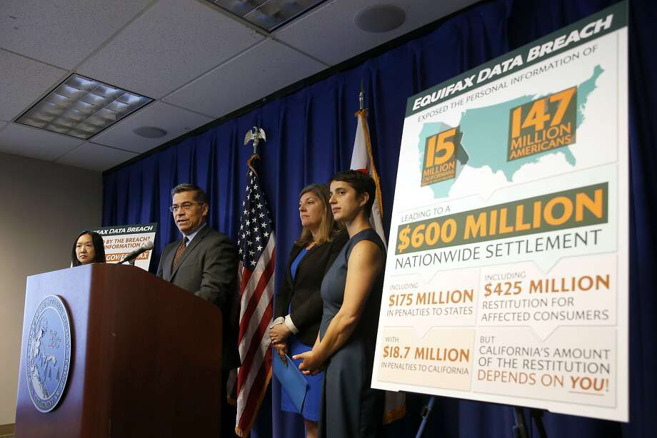California Attorney General Xavier Becerra discusses the settlement reached with Equifax over a 2017 data breach, during a news conference in Sacramento, Calif., Monday, July 22, 2019. Equifax will pay up to $700 million to settle with the Federal Trade Commission, as well as 48 states, including California, over the data breach that exposed social security numbers and other private information of nearly 150 million people. (AP Photo/Rich Pedroncelli) Photo: Rich Pedroncelli, Associated Press