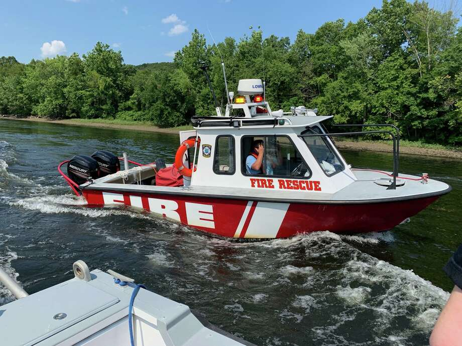 One person went to the hospital following an accident on the Housatonic River July 28,2019. First responders from multiple towns, including Orange, Derby, Shelton, and Stratford assisted in the incident. Photo: Echo Hose Ambulance Facebook Page / Contributed