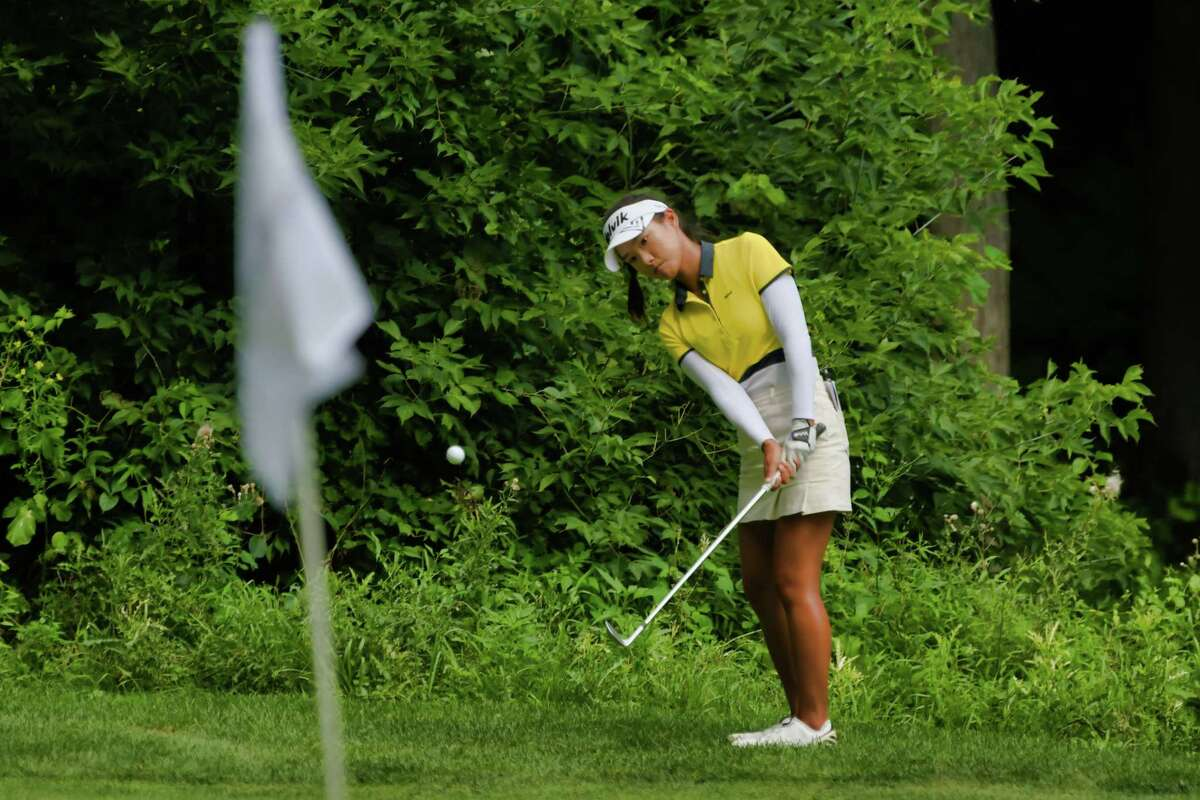 Yujeong Son chips onto the 16th green during the final round of the Symetra Tour event at Capital Hills Golf Course on Sunday, July 28, 2019, in Albany, N.Y. (Paul Buckowski/Times Union)