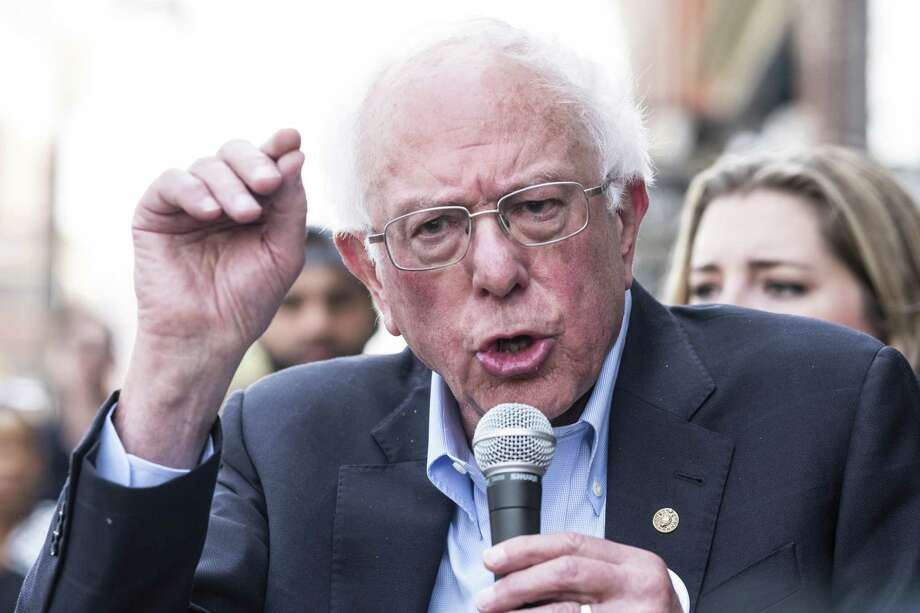 Senator Bernie Sanders, an independent from Vermont and 2020 presidential candidate, speaks during a campaign event at Olde Walkerville Pharmacy in Windsor, Ontario, Canada, on Sunday, July 28, 2019. Sanders joined people with type 1 diabetes on a bus trip from Detroit, Michigan to Canada to purchase insulin for one-tenth of the price sold in the U.S. Photographer: Erin Kirkland/Bloomberg Photo: Erin Kirkland / Bloomberg / © 2019 Bloomberg Finance LP